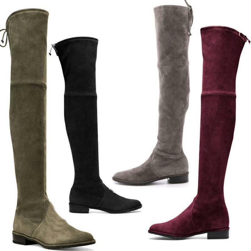 US SIZE Women's Suede Leather Pull On Over Knee Length Slim Leg Tall Long Boots