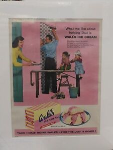 Original-1957-Vintage-Mounted-Advert-ready-to-framed-Wall-039-s-Ice-Cream-brick