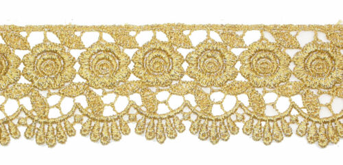 "57mm Rose Floral Metallic Gold Venise Lace Trim x 1yd or pre cut length 2.1//4/"""