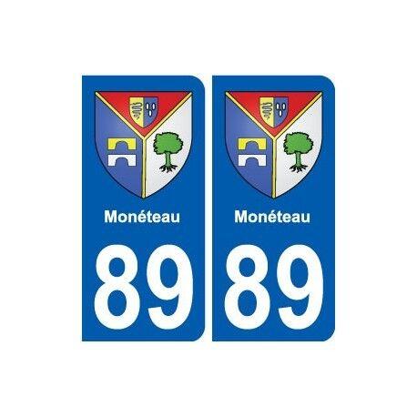 89 Monéteau blason autocollant plaque stickers ville -  Angles : arrondis