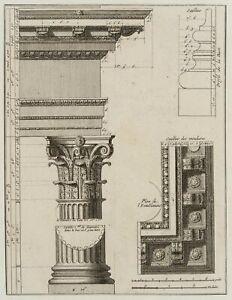 Details-und-Gebaelk-Korinthische-Saeulenordnung-18-Jh-Architektur-Radierung