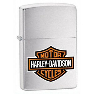 Zippo-Windproof-Lighter-Black-Harley-Davidson-Logo-Brushed-Chrome-200HDH252