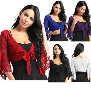 Womens-Belly-Dance-Crop-Top-Lace-Shrug-Tops-Long-Sleeve-Bolero-Blouse-Cardigan