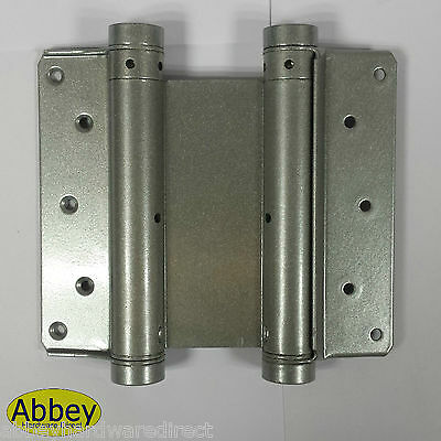 Double Action Spring Swing Door Gate Saloon Hinges Silver
