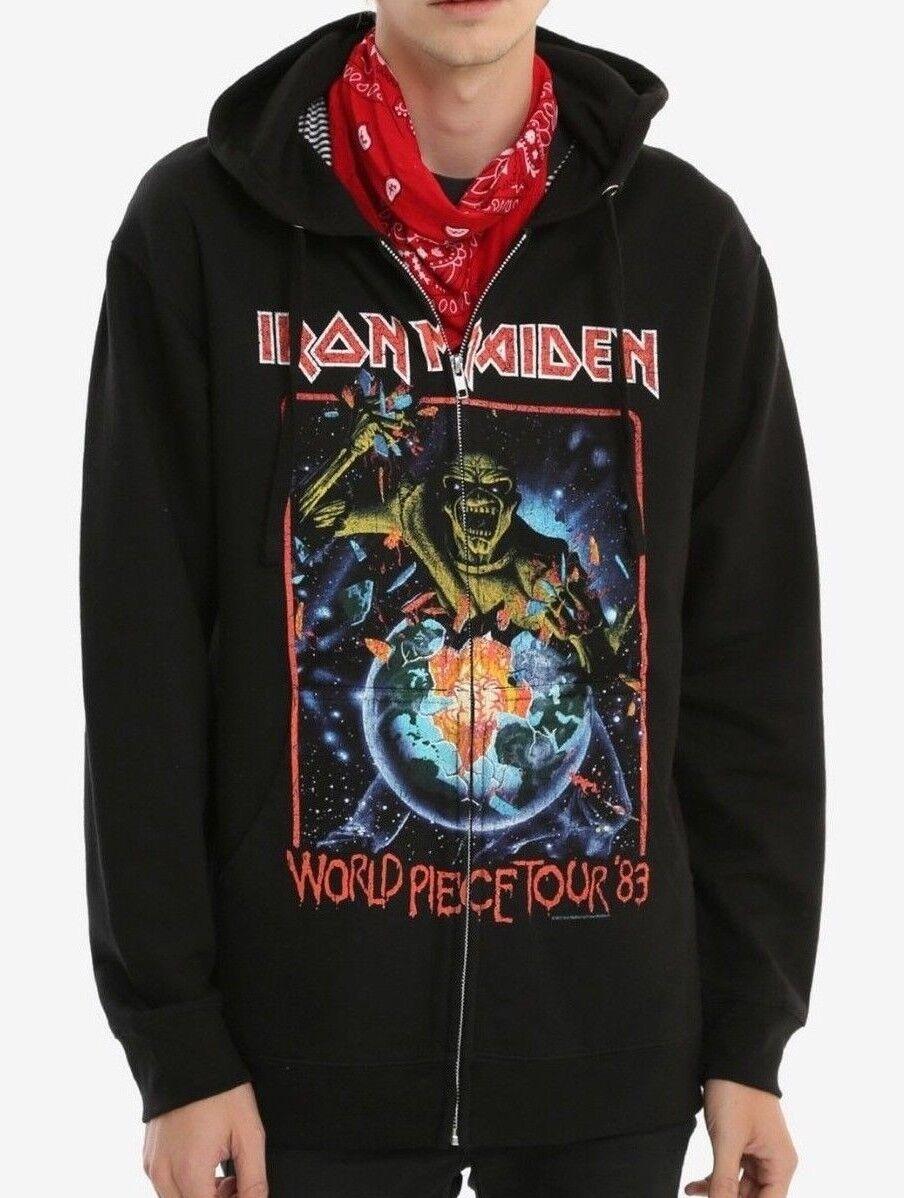 Iron Maiden WORLD PIECE TOUR Zip Up Hoodie Hooded Sweatshirt NEW Licensed