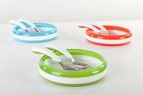 OXO Tot Fork And Spoon Set Green Soft Curved Non Slip Grip Dishwasher Safe