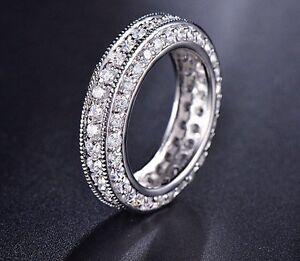 Fine Rings Solid 14k White Gold 0.98ct Round Eternity Diamond Engagement Wedding Band Engagement & Wedding
