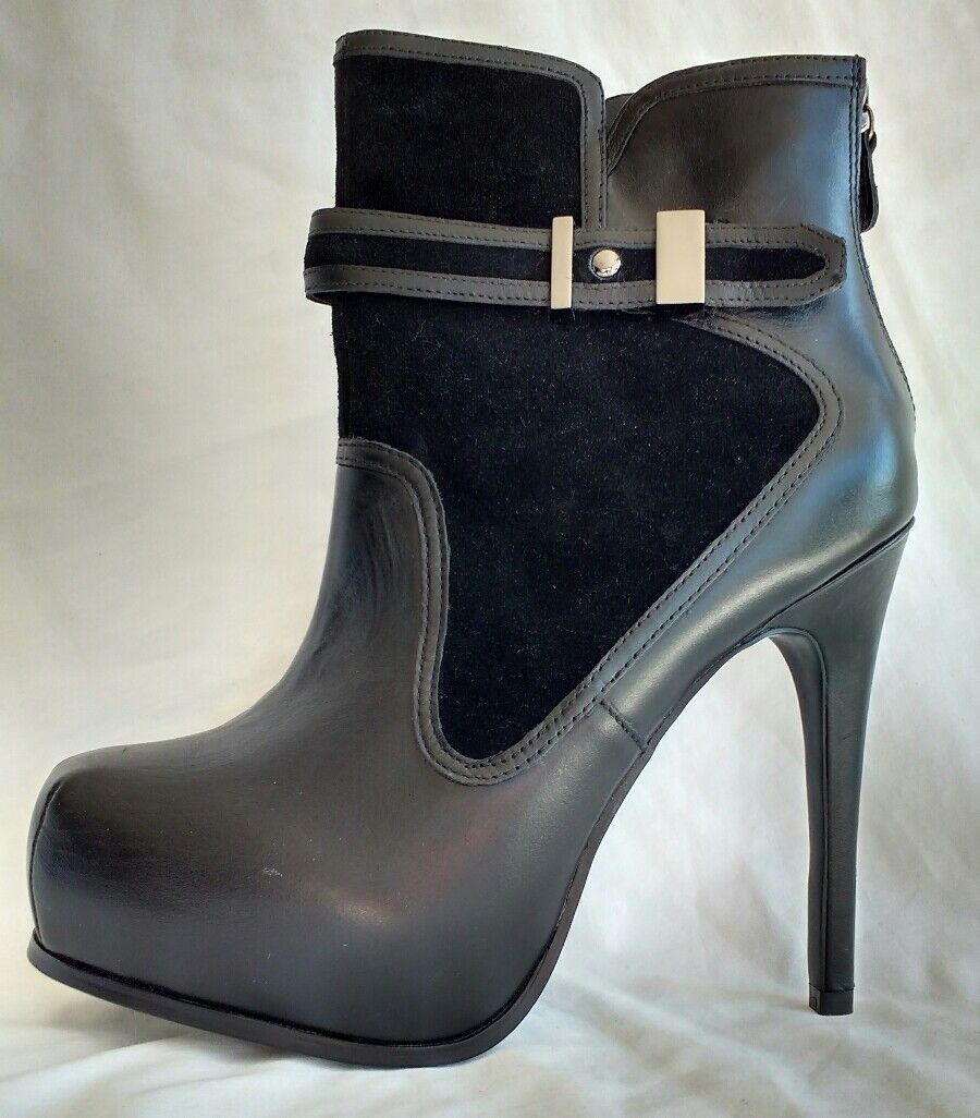 Betty Jackson Womens Ladies Black Leather Suede Heeled Ankle Boots Size 6/39 New