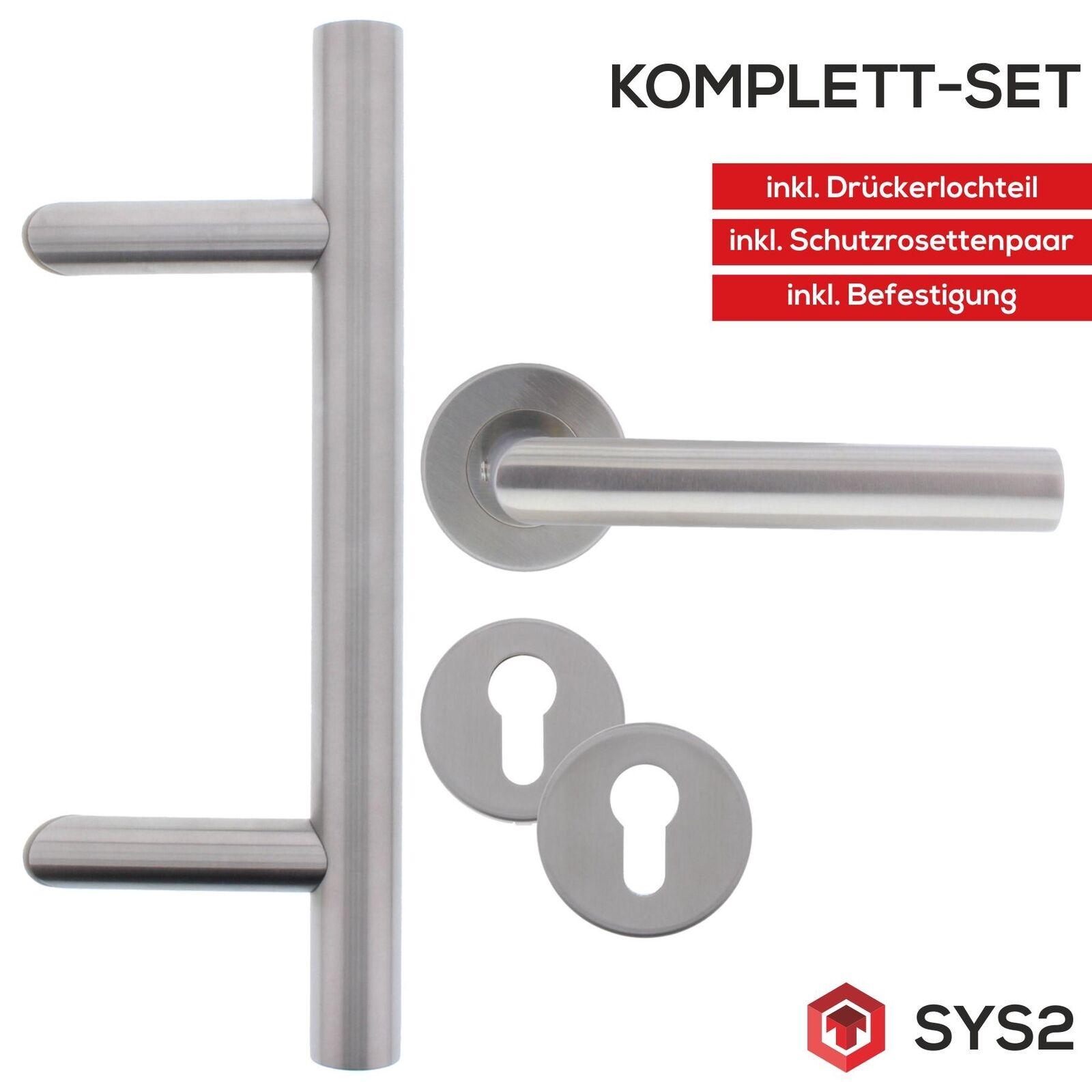 ToniTec® Türgriff Stoßgriff Set komplett schräge Ausführung runde Rosetten 350mm