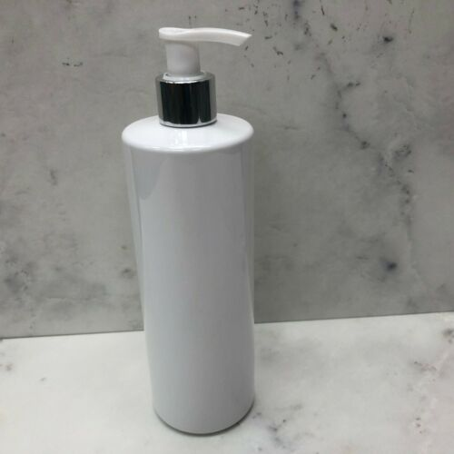 5 x 500ml Pump Bottle Black White Plastic Bath kitchen Hinch Customisable Reuse