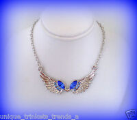 September Birthstone Sapphire Blue Crystal Silver Angel Wings Necklace Pendant