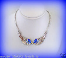 DECEMBER BIRTHSTONE BLUE TOPAZ CRYSTAL SILVER ANGEL WINGS NECKLACE PENDANT