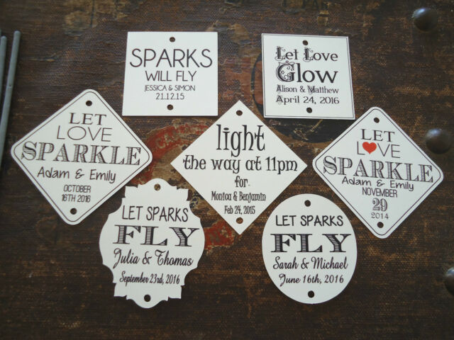 Kraft Ivory Wedding Favour Gift Tags Sparklers Bomboniere PERSONALISED Vintage