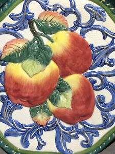 Fitz and Floyd Classics Fruit Plates Set/2 Octagon Apples & Pairs Handcrafted.