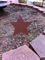 Rusty Finish Metal Star Memorial Garden Art Yard Stake