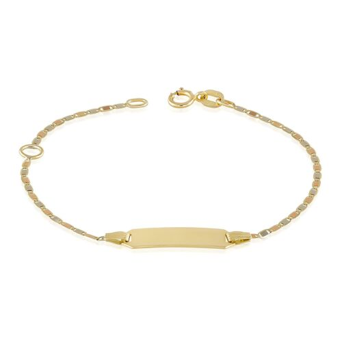 Gold Baby Bracelets 14k Tri Color Bar Chain 4.5 + 1 extension Free Engraving