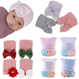 Cute Newborn Baby Girls Infant Toddler Bowknot Glitter Cap Beanie Hat