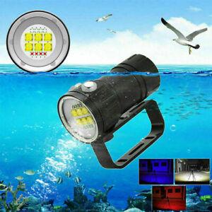 Buceo-Blanco-Rojo-Azul-LED-Linterna-antorcha-de-buceo-iluminacion-de-fotografia-submarina