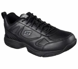 Black-Skechers-shoes-Slip-Resistant-Memory-Foam-Work-77111-Men-relaxed-EH-Safety