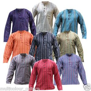 Mens-Stripe-Light-Cotton-Festival-Full-Sleeved-Hippie-Collarless-Grandad-Shirt