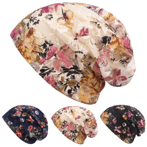 Ladies Elegant Lace Floral Beanie Caps Slouchy Summer Thin Hats Baggy Hat