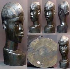 Art Africain 1930 statue buste femme ébène massif 5.3kg42cm Gabon très déco rare