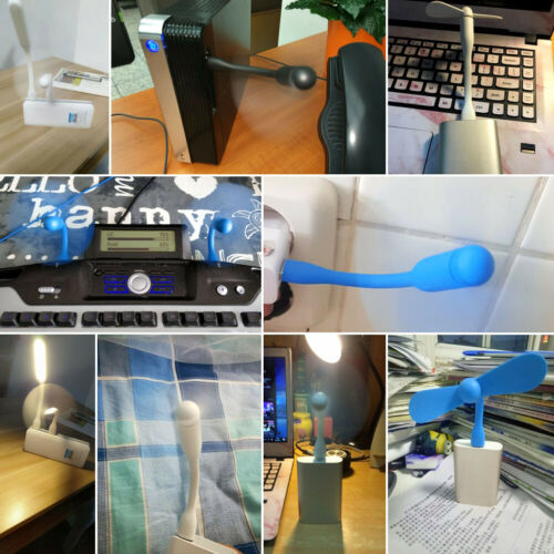 Mini USB Cooling Fan+LED Lamp Flexible Summer Gadget For Tablet Power Bank 5829