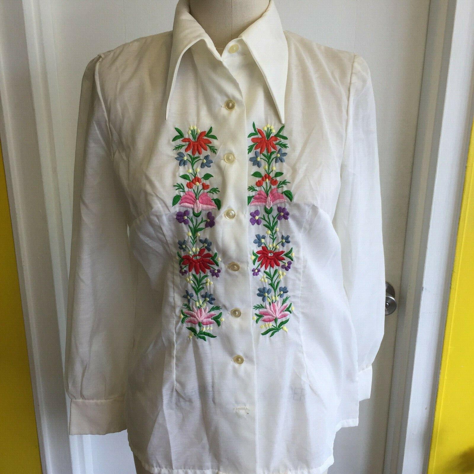 Vtg Hungarian BLOUSE Kalocsa Style Embroidered Sh… - image 3