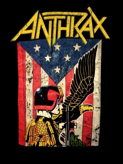 ANTHRAX cd lgo Flag / Judge DREDD EAGLE Official SHIRT MED new