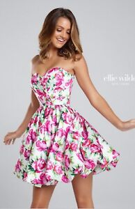 NWT-Size-2-White-fuchsia-floral-print-short-homecoming-cocktail-formal-dress