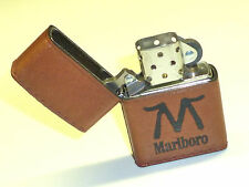 "MARLBORO ""M"" ZIPPO LIGHTER - FULL LEATHER WRAPPED - NEVER STRUCK - 1994 - RARE"