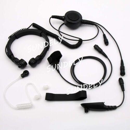 Military Tactical Throat Mic Headset//Earpiece For Motorola Radio HT750 HT1250 US