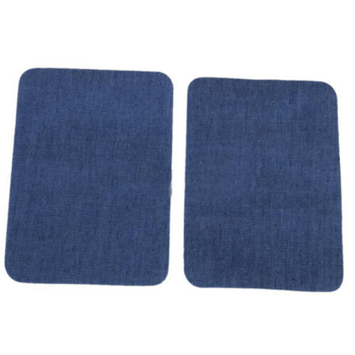 1Pair Iron on Denim Elbow Knee Patches Jeans Repair Art Decor Sewing Applique GL