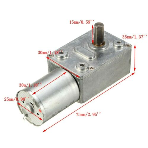DC 6V//12V 1-30RPM  Geared Motor GW370 High Torque Turbo Worm Gear Box Motors