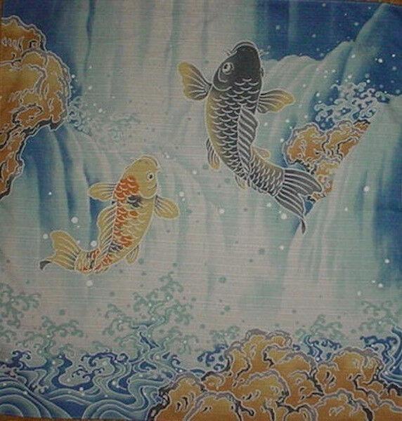 Furoshiki Wrapping Cloth Cotton Japanese 'Jumping Carp' Koi Fabric 50cm