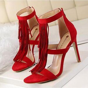Sandaloas de mujer talón  9.5 cm elegantes tacón de aguja rojo flecos  talón  448eb9