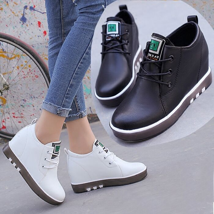Fashion Korean Womens Casual Leather Flats heels Platform Breathable Leather Casual shoes XY16 8a3047
