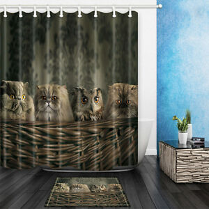 The cat and owl theme waterproof fabric home decor shower curtain bathroom mat ebay - Owl themed bathroom decor ...