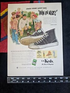 1951 US Keds Shoes Ad Coach Frank Leahy Says Win in Keds Hi Tops Vtg Notre Dame