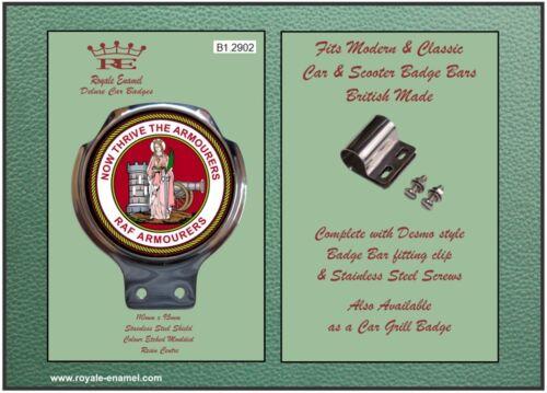 B1.2902 Classic Modern Car Bar Badge RAF ARMOURERS ST BARBARA fittings