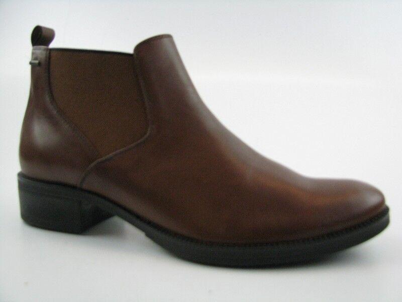 Geox Damen Schuhe Ankle Boots Cognac-braun Leder  mit Gummizug Gr.37
