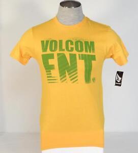 Volcom-ENT-Singature-Yellow-Gold-Short-Sleeve-Tee-T-Shirt-Mens-Small-S-NWT