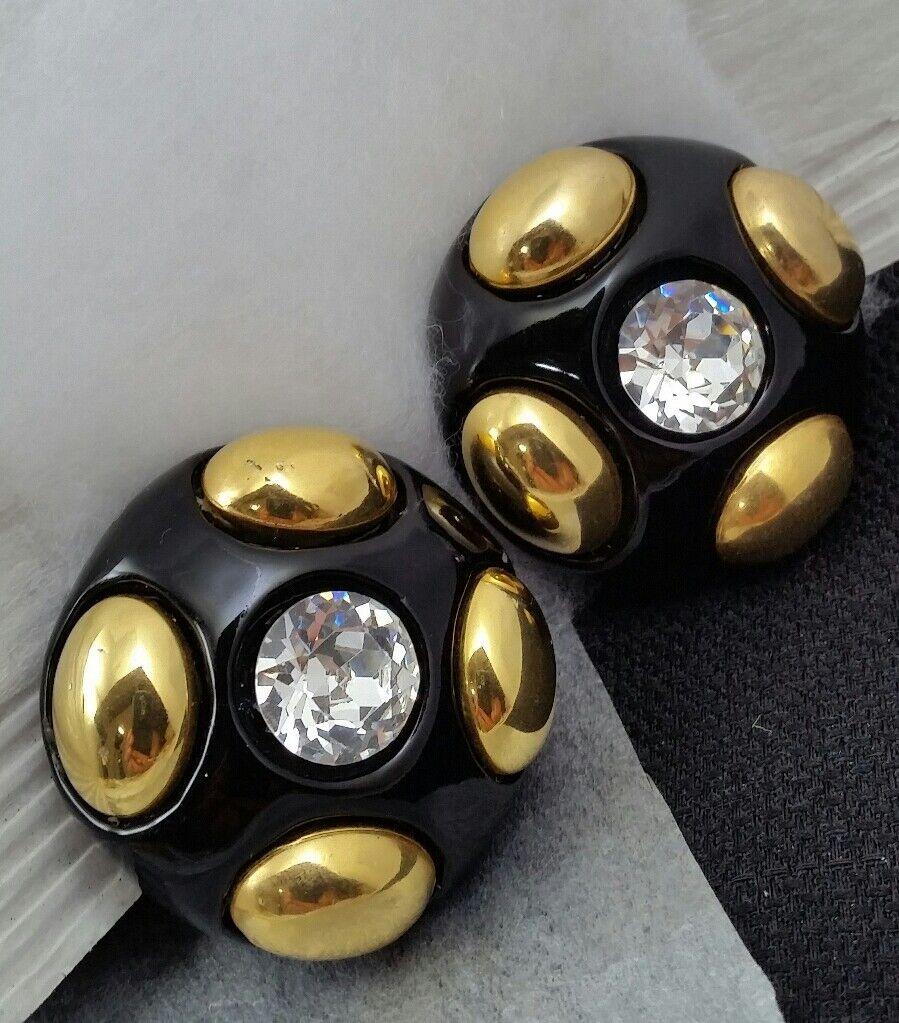 Vintage Oversized Jewellians Black Rhinestone Cli… - image 8