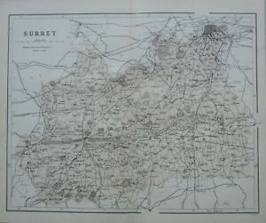 Guilford England Map.1868 Map England Surrey Guildford Farnham Kingston Lambeth Croydon