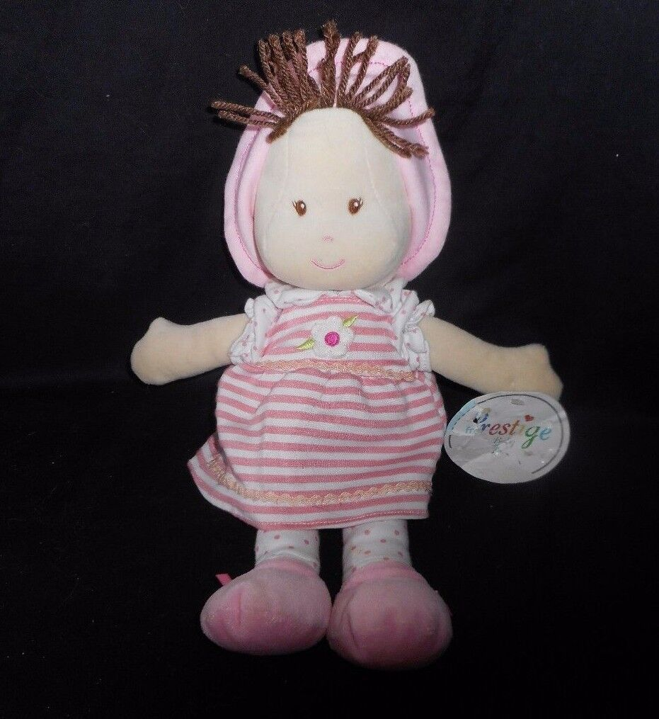 13  PRESTIGE BABY DOLL PINK STRIPE DRESS BROWN HAIR STUFFED ANIMAL PLUSH TOY