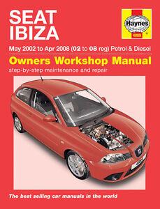 seat ibiza 1 2 1 4 petrol 1 4 1 9 diesel 2002 08 02 08 reg haynes rh ebay com 2017 Seat Ibiza Interior Seat Ibiza 1995 Interior