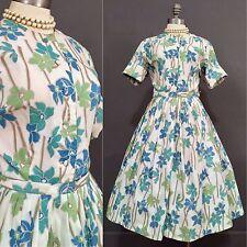 Vintage 50s Pin Up Rockabilly Dress Floral Tea Full VLV 40s L 14