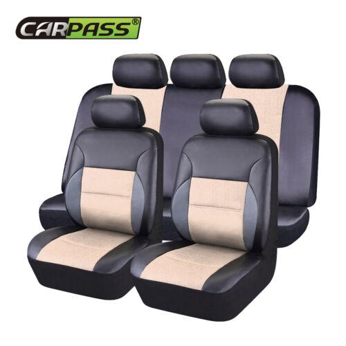 Universal Leather Car Seat Covers for SUV Sedan VAN Rear Split 60//40 50//50 Beige
