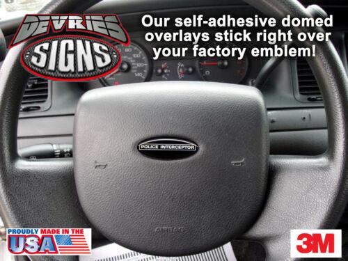 2 DOMED Ford Crown Victoria POLICE INTERCEPTOR steering wheel emblem overlays