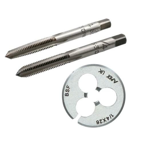 "BSF Tap /& Die Set en acier au carbone Taper Plug 1/"" Die Cutter Threading OUTIL Rethread"